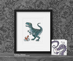 Dinosaur Nursery Print - T Rex Daddy © Nicola L Robinson | Teeth and Claws www.teethandclaws.co.uk