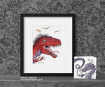 T Rex Portrait Art Print © Nicola L Robinson | Teeth and Claws www.teethandclaws.co.uk Dinosaur Decor Gift
