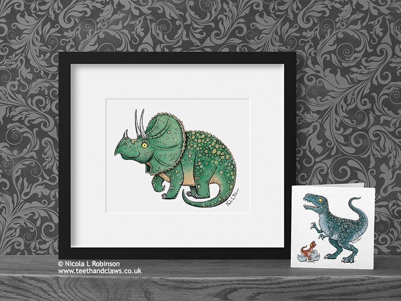 Triceratops - Dinosaur Art Print - © Nicola L Robinson | Teeth and Claws www.teethandclaws.co.uk
