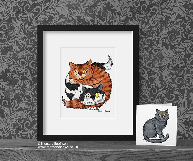Two Cats Art Print - Cat Decor Gift © Nicola L Robinson | Teeth and Claws www.teethandclaws.co.uk