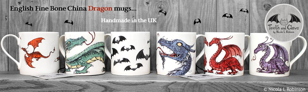 Fine Bone China Dragon mugs by Nicola L Robinson. Collectable illustrated artist mugs. Handmade in the UK.