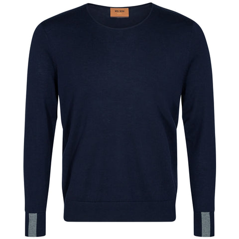 Adam Supima O-Neck Strik · Navy Mos Mosh Gallery
