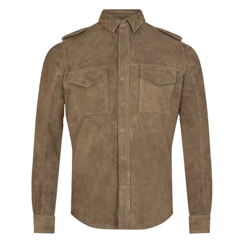 Ollie Leather Shirt · Brun