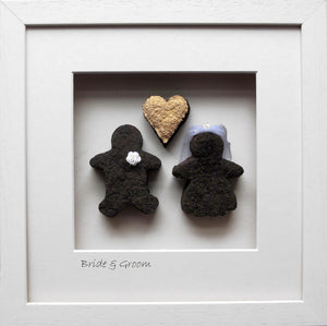 Bride & Groom - Large with Gold Heart