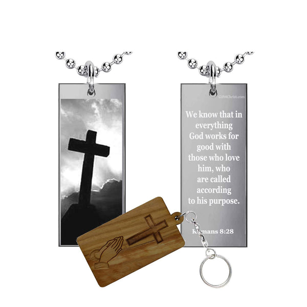 Romans 8:28 Bible Phrase Rectangle Pendant