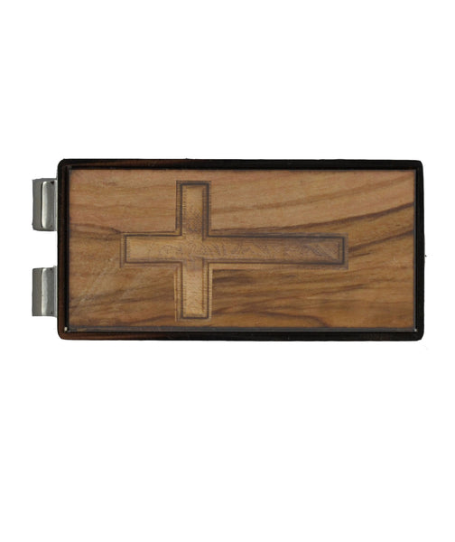 Cross on Holy Land Olive Wood/Nickel Money Clip