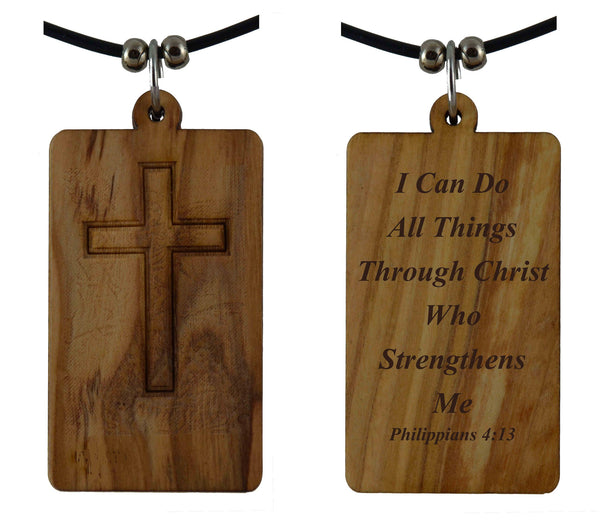 I Can Do all things Through Christ Philippians 4:13 on Holy Land Olive Wood Cross Pendant-Necklace