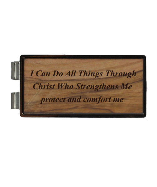 I Can Do all things Through Christ Philippians 4:13 on Holy Land Olive Wood/Nickel Money Clip