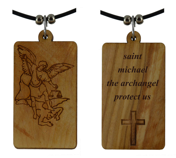 St Michael on Holy Land Olive Wood Cross Pendant-Necklace