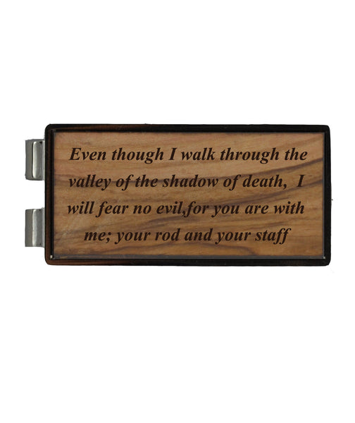 Psalm 23:4 on Holy Land Olive Wood/Nickel Money Clip