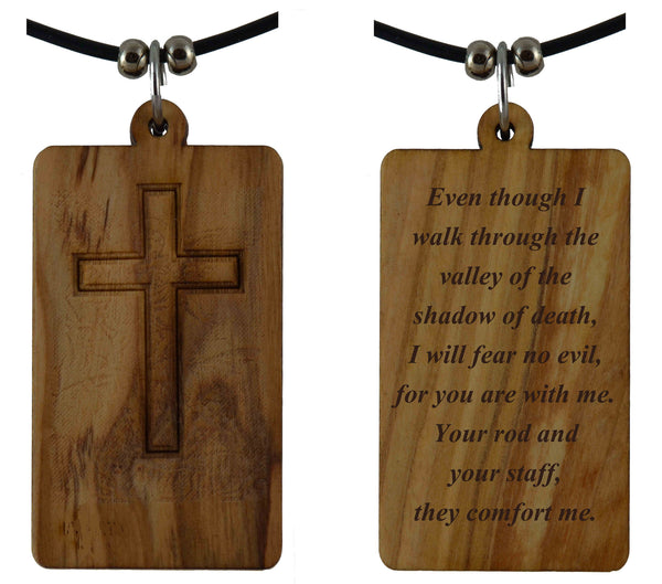 Psalm 23:4 on Holy Land Olive Wood Cross Pendant-Necklace