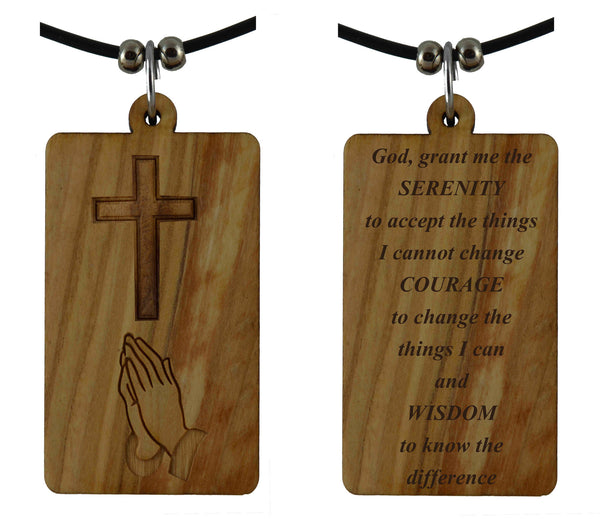Serenity Prayer on Holy Land Olive Wood Cross Pendant-Necklace