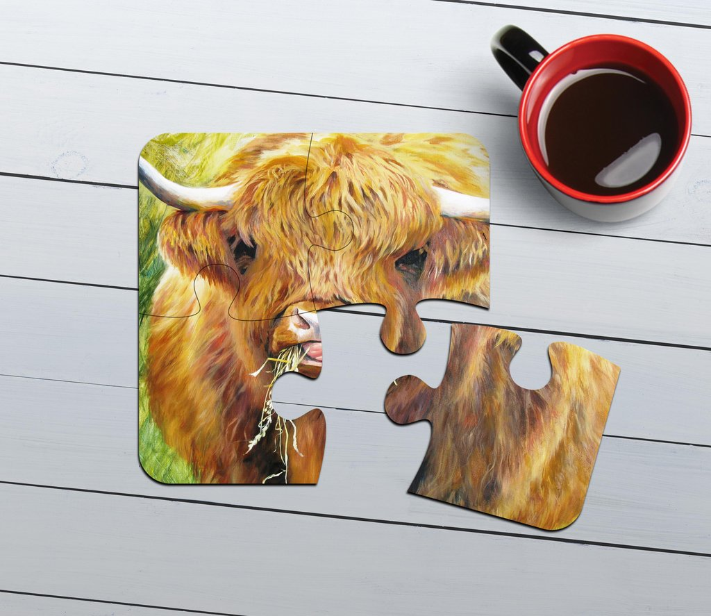 Highland Cow Art Print Collection- Jigsaw Shaped Coasters (set 4)