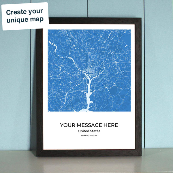 City Map Wall Art Designer - Choose your City, Style, Frame and Message