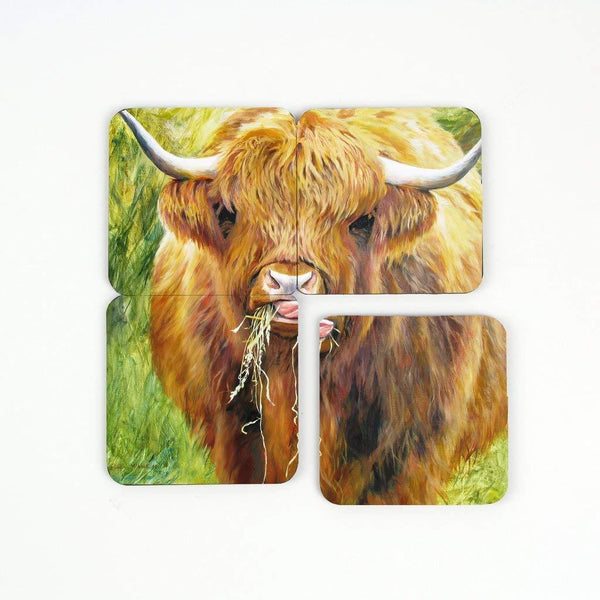 Highland Cow Art Print Collection Square Coasters – Set of 4