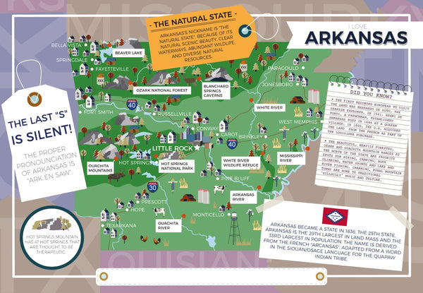 Arkansas - I Love My State 400 Piece Personalized Jigsaw Puzzle Arkansas - I Love My State 400 Piece Personalized Jigsaw Puzzle