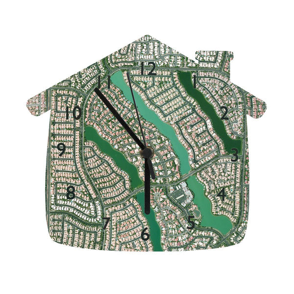 "Clocks - House Shaped 10"" Map Clock - Personalized House Shaped 10"