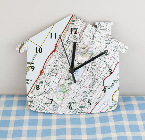 Clocks - National Geographic Personalized House Shaped Map Clock
