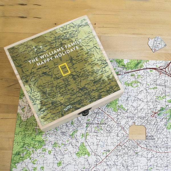 "Jigsaw Puzzle - National Geographic ""My Town"" Custom Map Gift Set"