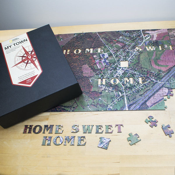 "National Geographic ""My Town"" Wooden Aerial Map Jigsaw Puzzle"