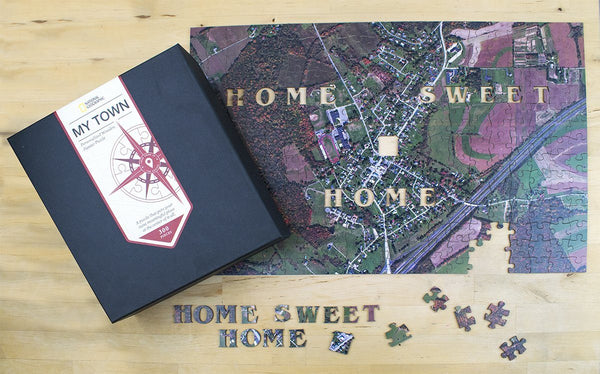 "National Geographic ""My Town"" Wooden Aerial Map Jigsaw Puzzle National Geographic"