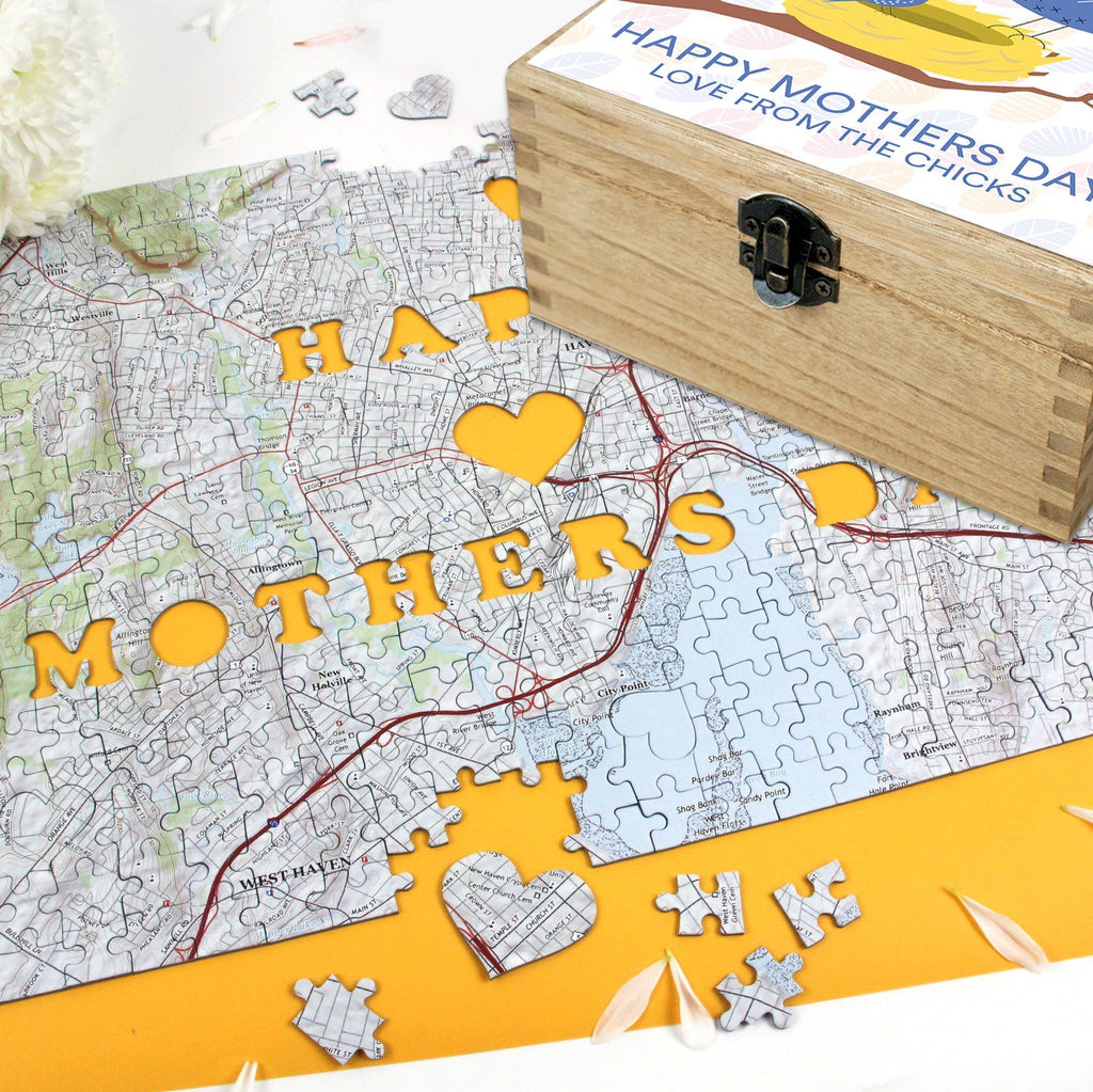 Jigsaw Puzzle - Personalized Mother's Day Gift Set - Keepsake Box And Map Puzzle