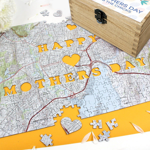 Jigsaw Puzzle - Personalized Mother's Day Gift Set - Keepsake Box And Map Puzzle Personalized Mother's Day Gift Set - Keepsake Box and Map Puzzle