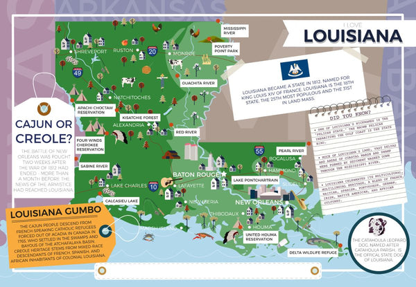 Louisiana - I Love My State 400 Piece Personalized Jigsaw Puzzle Louisiana - I Love My State 400 Piece Personalized Jigsaw Puzzle