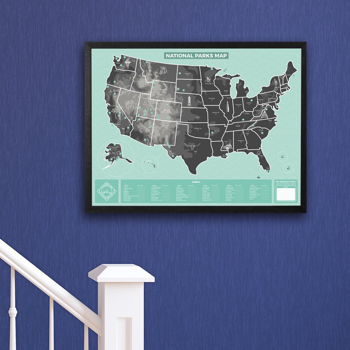 US National Parks Map - Personalized