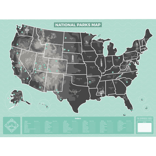 Maps - US National Parks Map - Personalized US National Parks Map - Personalized