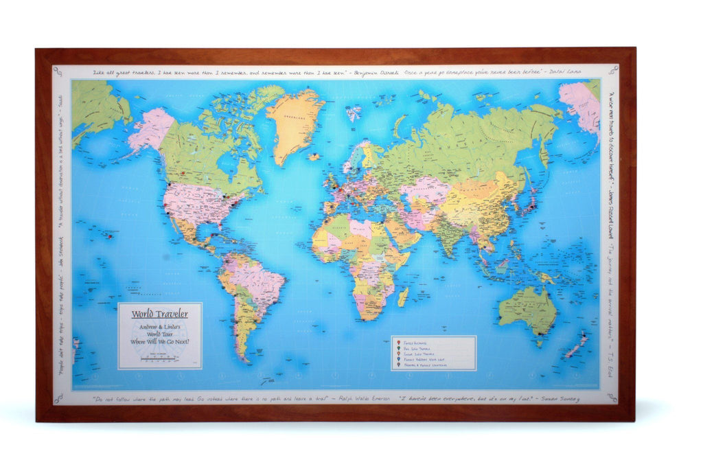 World Traveler Personalized Wall Map Butler And Hill - Wall atlas