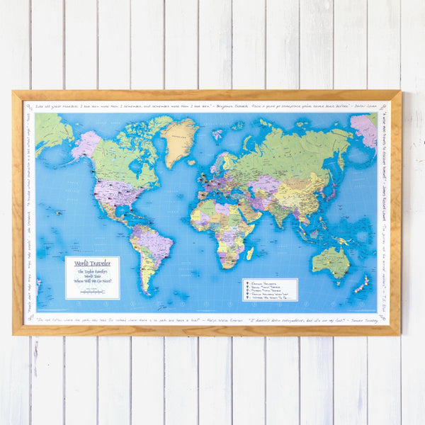 Maps - World Traveler Personalized Wall Map