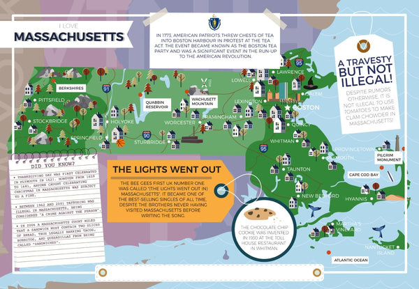 Massachusetts - I Love My State 400 Piece Personalized Jigsaw Puzzle Massachusetts - I Love My State 400 Piece Personalized Jigsaw Puzzle