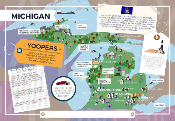 Michigan - I Love My State 400 Piece Personalized Jigsaw Puzzle