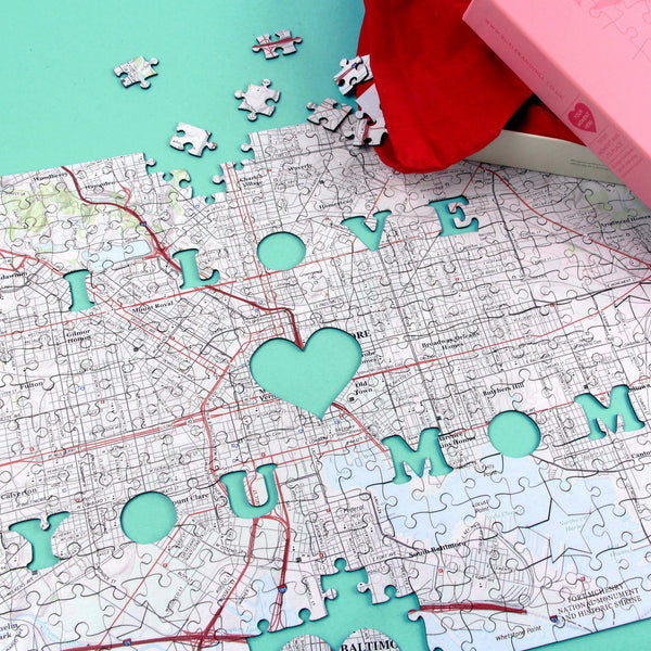 Personalized Fab Jigsaw Puzzles - I Love You Mom Personalized Map Jigsaw Puzzle (fab.com Exclusive)