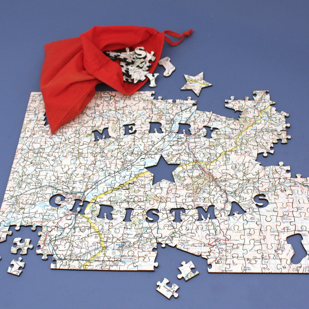 Personalized Fab Jigsaw Puzzles - Merry Christmas Map Jigsaw Puzzle - Fab.com Exclusive