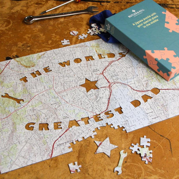 Personalized Fab Jigsaw Puzzles - World's Greatest Dad Personalized Map Jigsaw Puzzle - Fab.com Exclusive