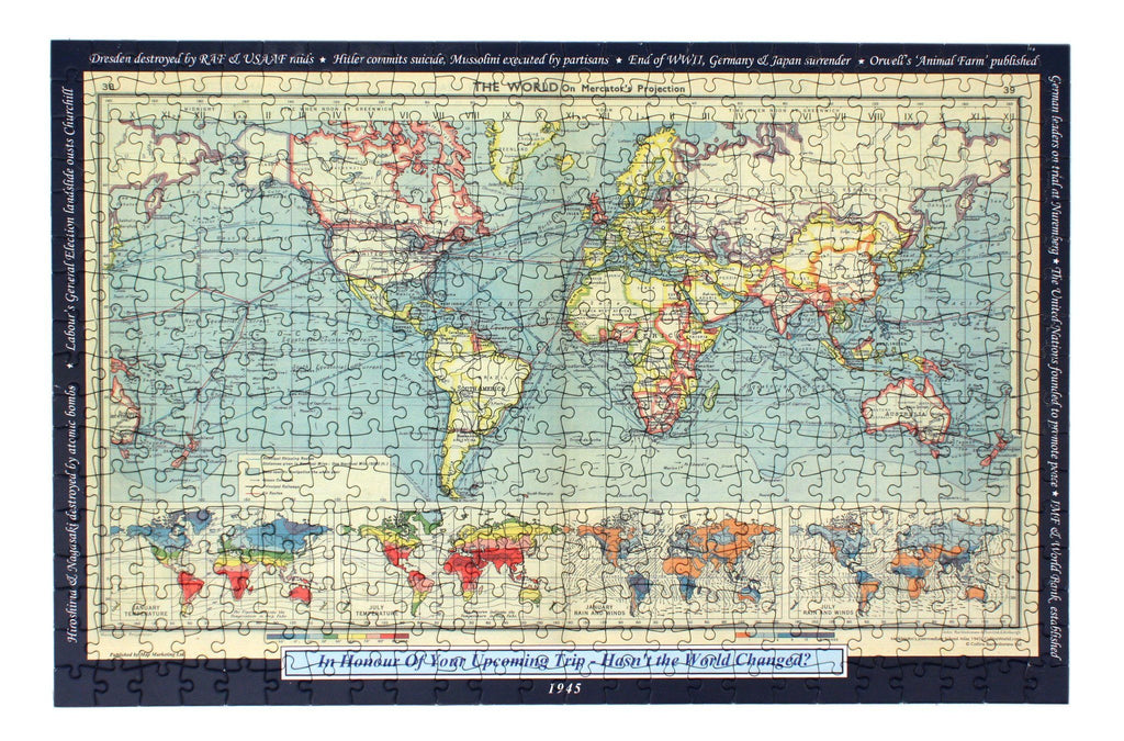 Historical World Map Personalized Jigsaw Puzzle Butler and Hill