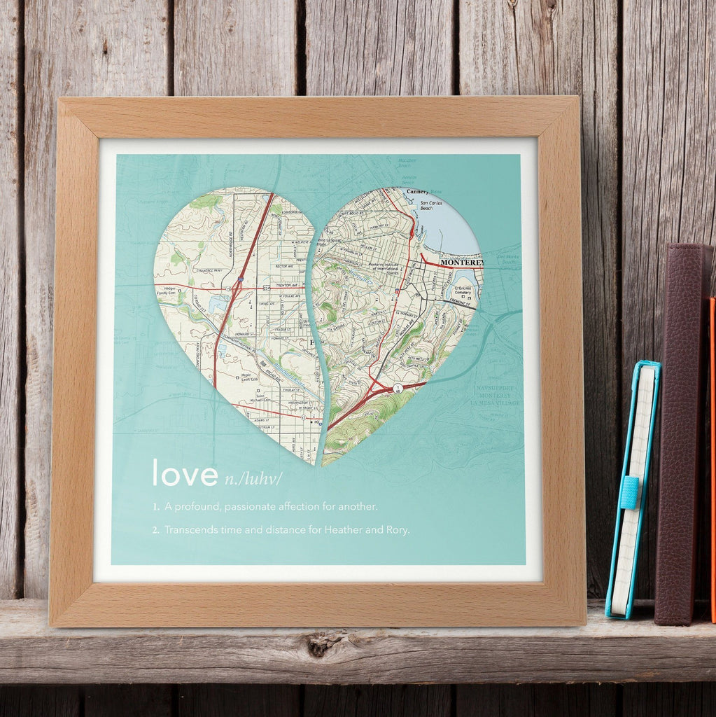 Wall Art - Joined Map Heart – Personalized Dictionary Definition Map Art - Love