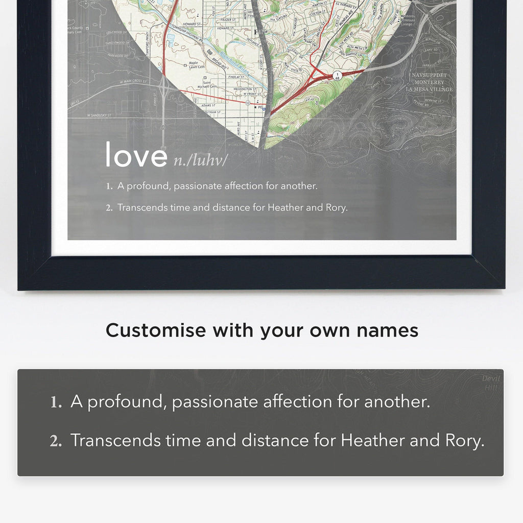 Joined Map Heart – Personalized Dictionary Definition Map Art - Love