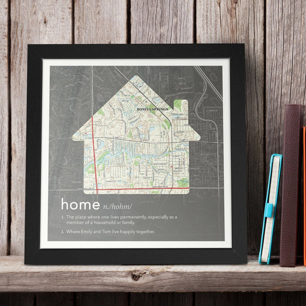 Wall Art - Personalized Dictionary Definition Map - Home (fab.com Exclusive)