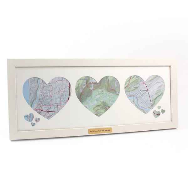 Wall Art - Trio Of Personalized Framed Map Hearts - USGS Trio of Personalized Framed Map Hearts