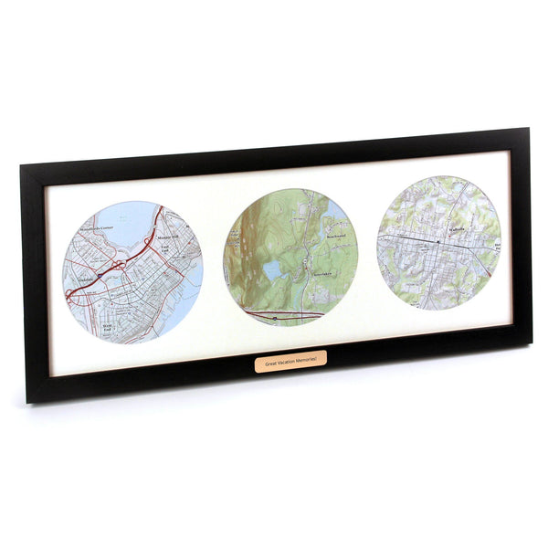 Wall Art - Trio Of Personalized Map Circles - USGS Mapping