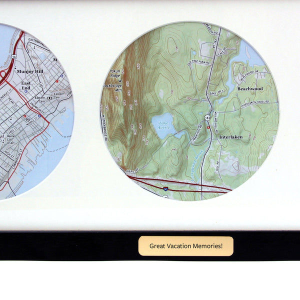 Wall Art - Trio Of Personalized Map Circles - USGS Mapping Trio of Personalized Map Circles - USGS Mapping