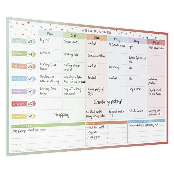Wall Planner - LAMINATED FAMILY WEEK WALL PLANNER LAMINATED FAMILY WEEK WALL PLANNER