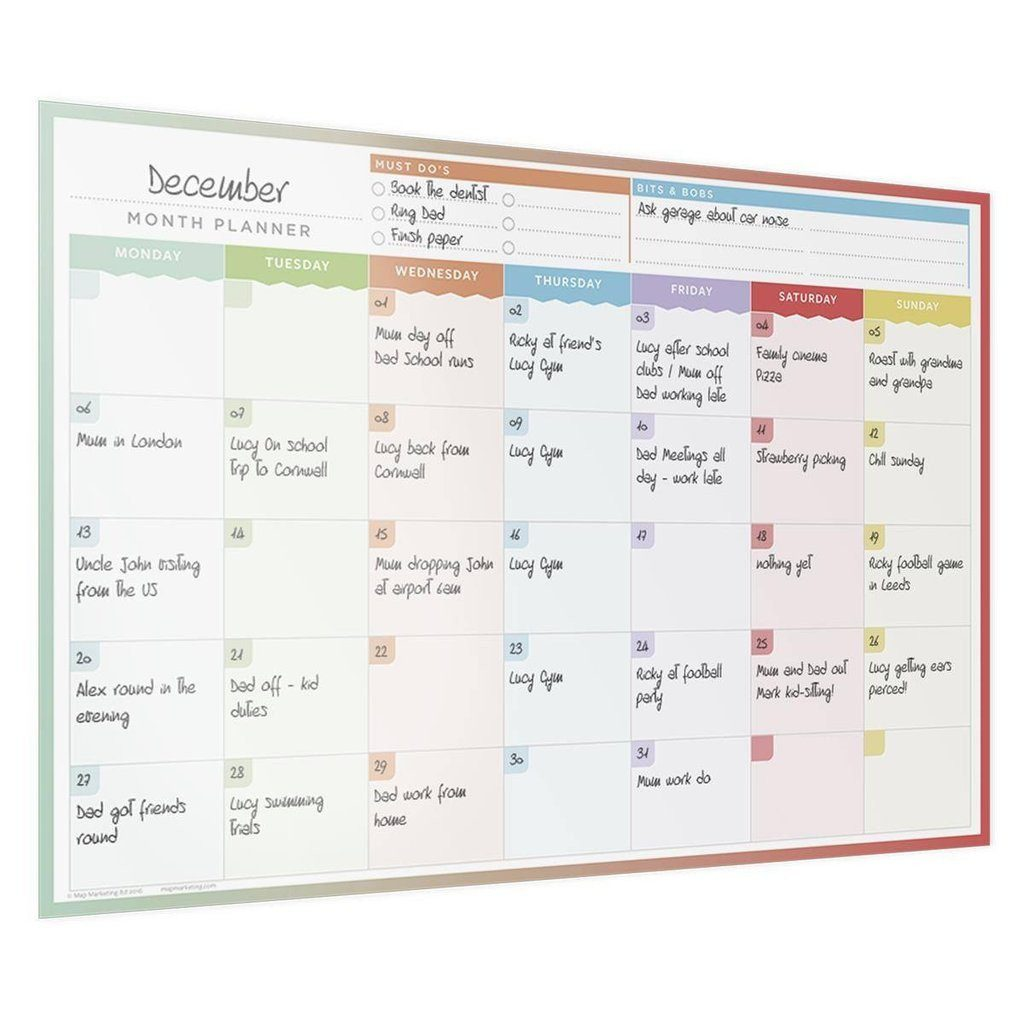 month planner laminated wall chart