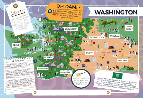Washington - I Love My State 400 Piece Personalized Jigsaw Puzzle I Love My State 400 Piece Personalized Jigsaw Puzzle (South Dakota - Wyoming)