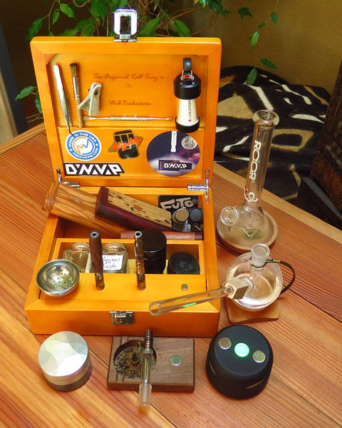 Full DynaVap collection in wooden box with UFO Induction Heater