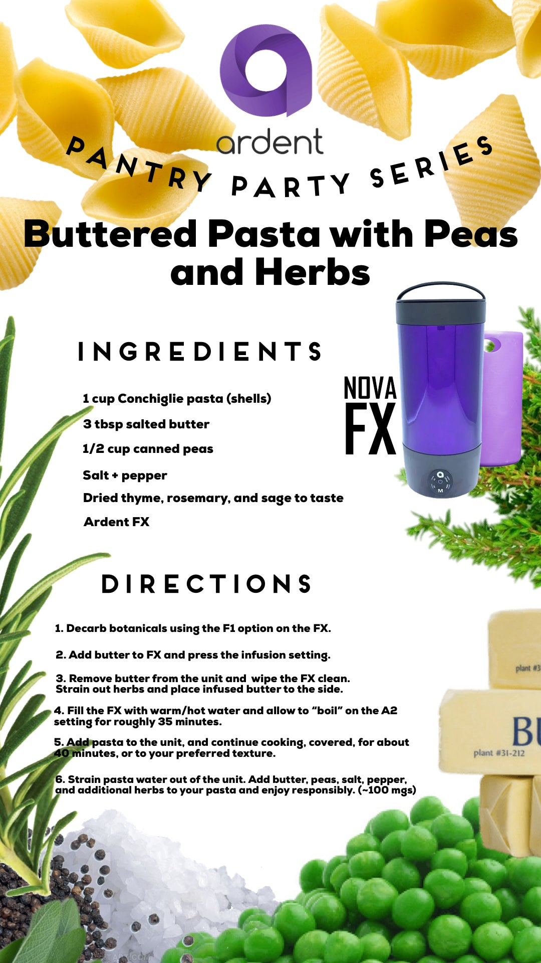 Ardent Nova FX Recipe - Buttered Pasta with Peas & Herbs NZ