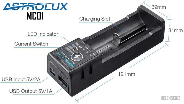 Astrolux 2 in1 18650 USB Battery Charger Diagram